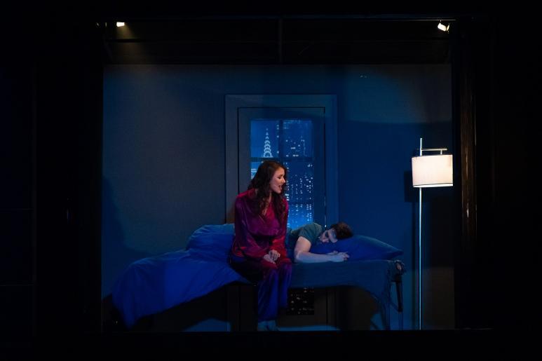 Na zdjęciu widzimy nocną scenę w pokoju. Na łóżku leży śpiący mężczyzna – Chris, na rancie łóżka siedzi kobieta – Ellen, która obserwuje męża kiedy śpi. W tle pali się nocna lama, za oknem widzimy amerykańskie  rozświetlone wieżowe w nocnym anturażu.